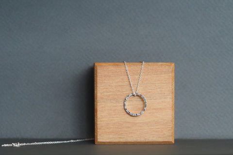 Silver Tactility Circle Shape Necklace