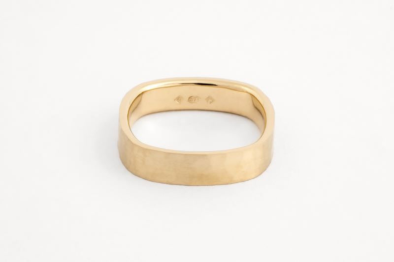 Square Ripples Ring, Yellow Gold