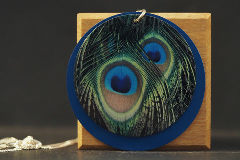 Blue Round Peacock Necklace