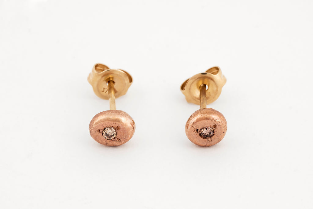 Rose Gold and Diamond Spot Studs