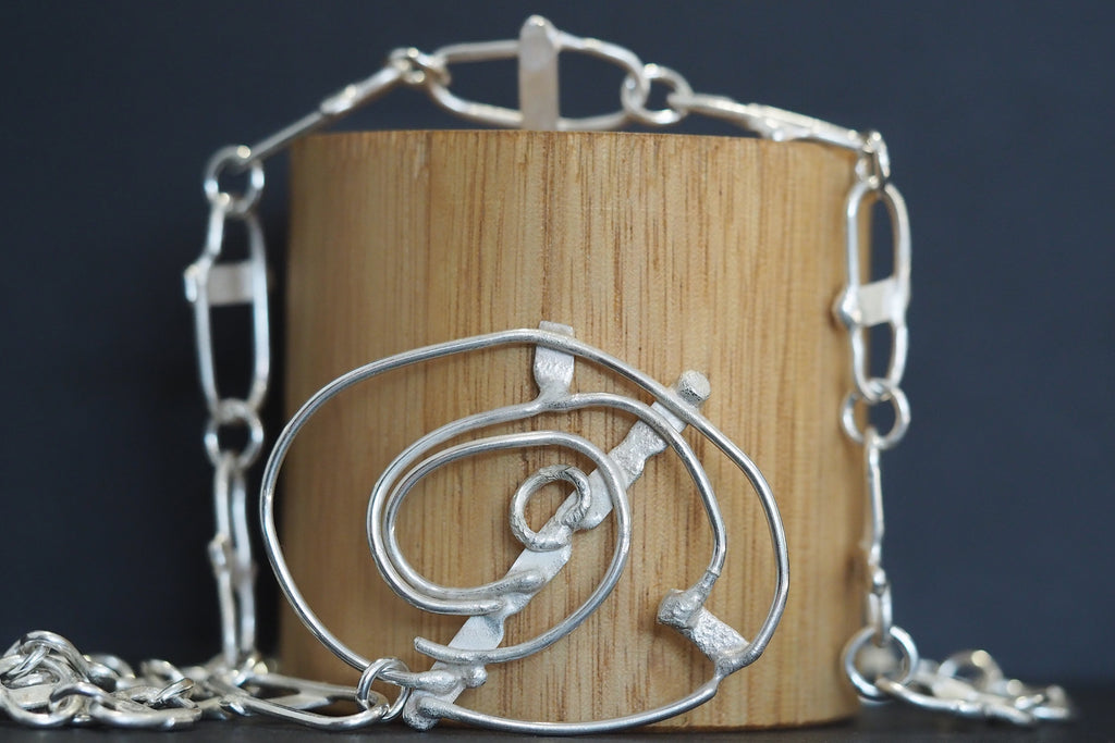 Relik Fused Silver Graduated Chain Necklace