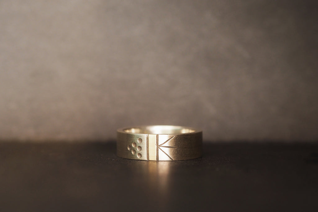 Silver Morse Code Ring, Yellow Gold
