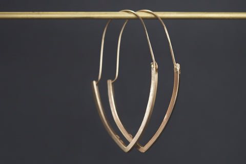 Intersection Marquise Hoops Yellow Gold