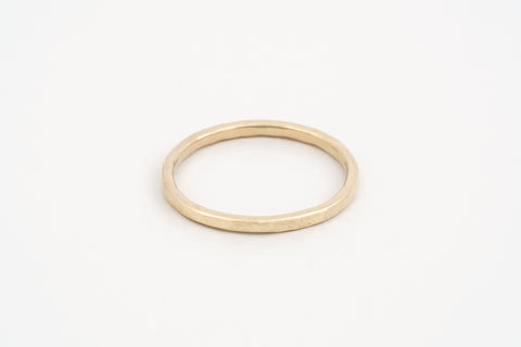 Yellow Gold Hammered Stacker Ring