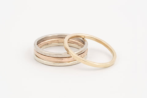 Gold Hammered Stacker Rings