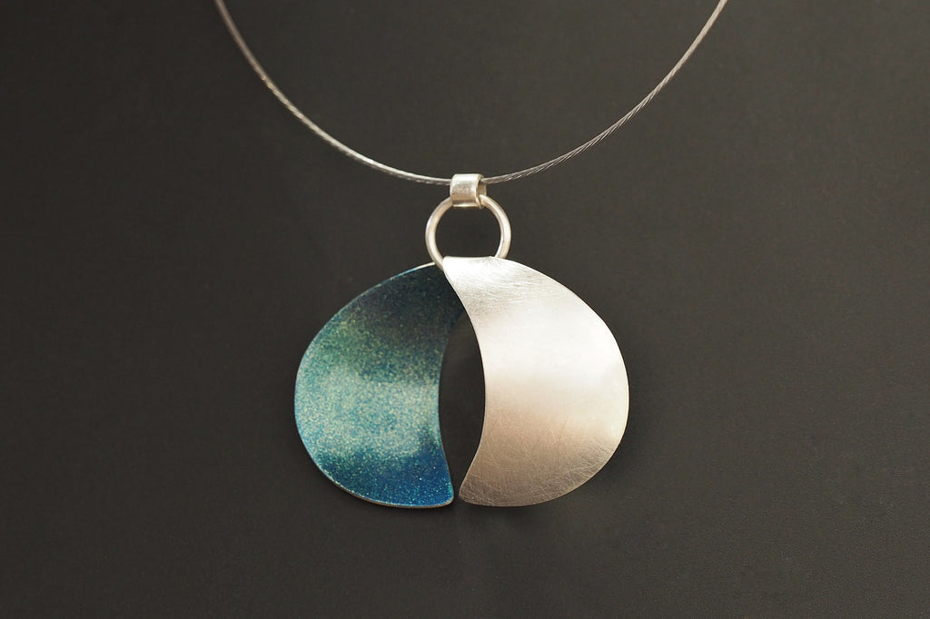 Reversible Blue Crescent Moon Necklace