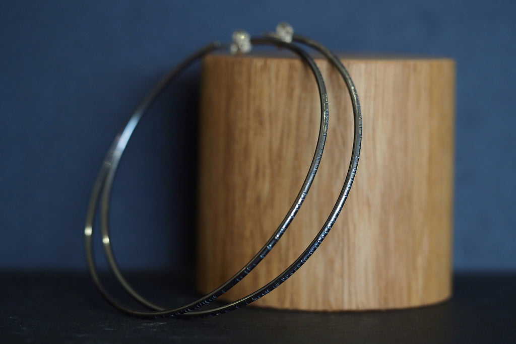 Large Oxidised Tactility Hoops