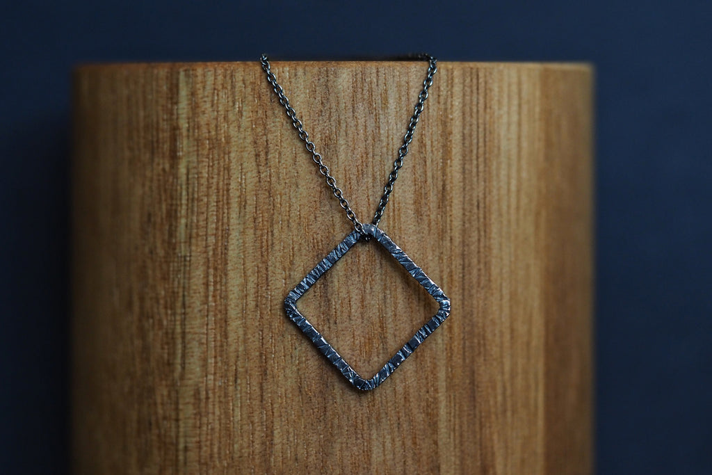 Square Oxidised Tactility Necklace