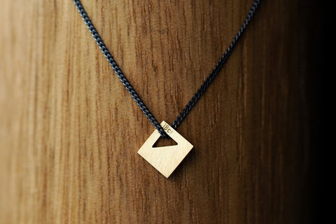 Square Tab Gold Pendant with Triangle on Black Silver Chain