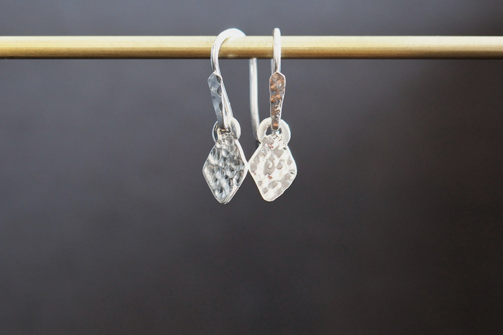 Diamond Shape Silver Artefact Earrings