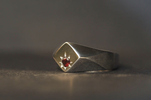 Polygon Garnet Signet Ring