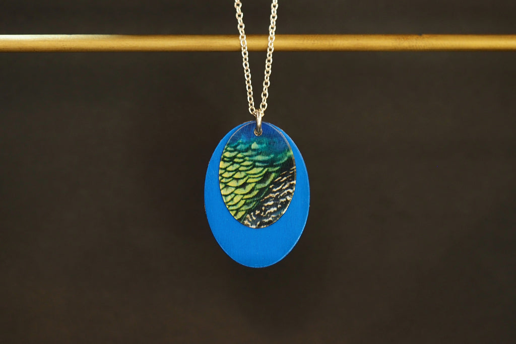 Blue Double Oval Necklace
