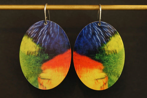 Large Parrot Oval Earrings