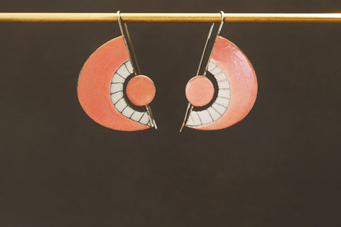Enamel Fan Drop Earrings