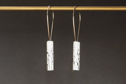 White Enamel HAB Earrings