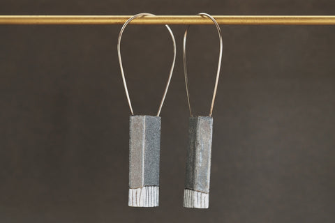 Charcoal Enamel HAB Earrings