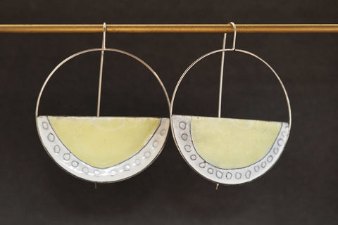 Enamel Open Arc Earrings