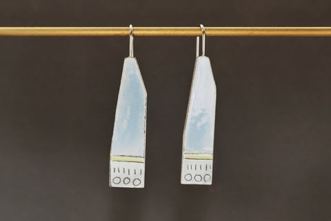 Blue Enamel Paddle Drop Earrings
