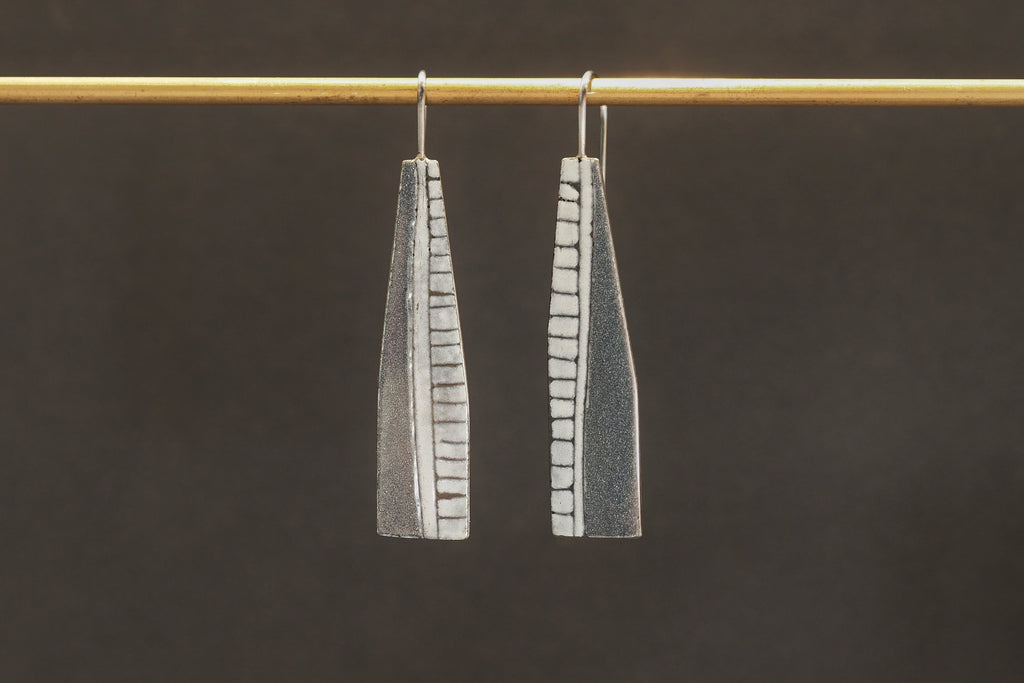 Charcoal Enamel Paddle Drop Earrings