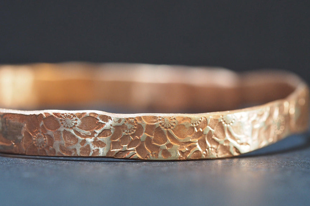 Rose Gold Flower Bangle