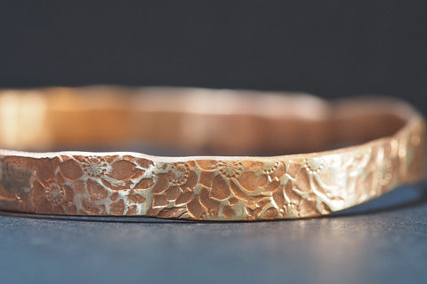Rose Gold Floral Bangle
