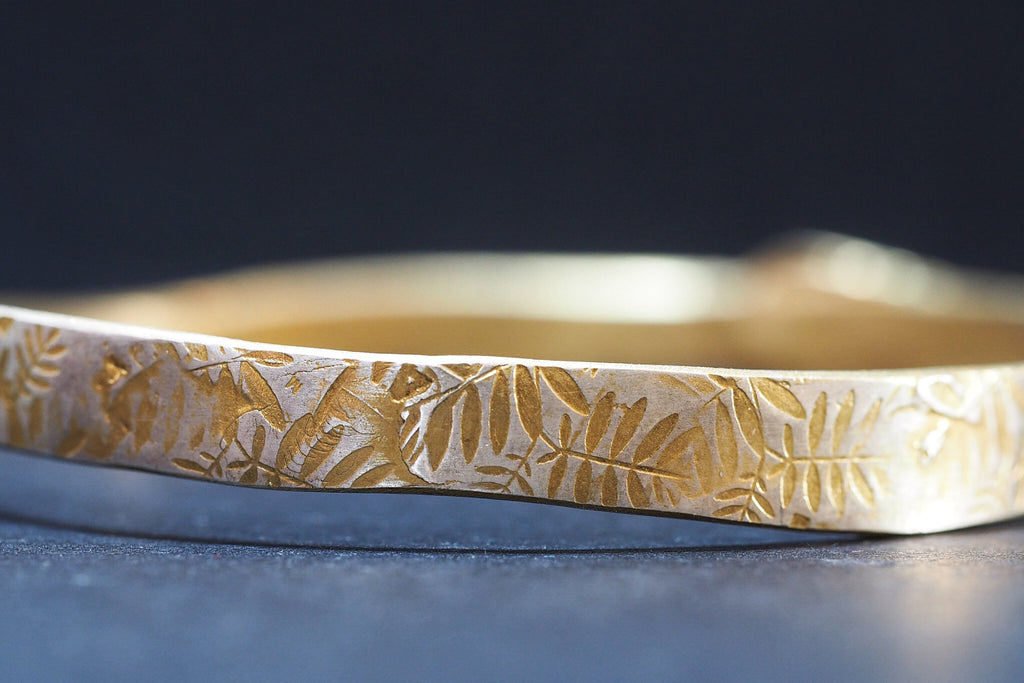 Gold Plated Sterling Silver Leaf Bangle