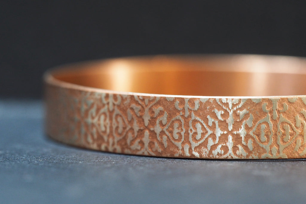 Rose Gold Plated Sterling Silver Pattern Bangle