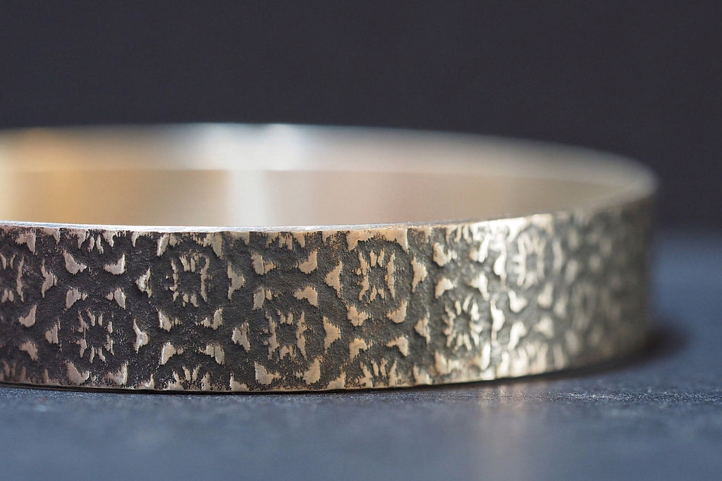 Sterling Silver Pattern Bangle with Oxidised Detail