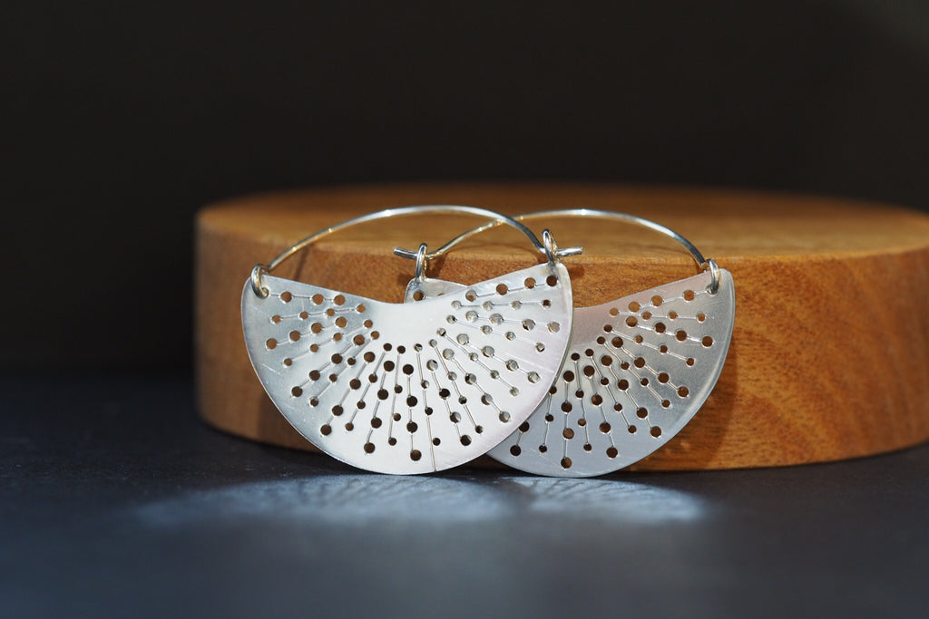 Silver Ray Hoop Earrings
