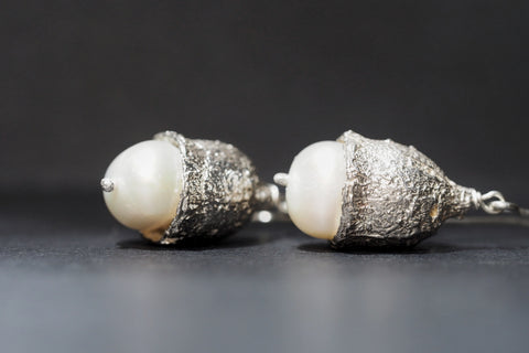 Large Eucalyptus Pearl Earrings