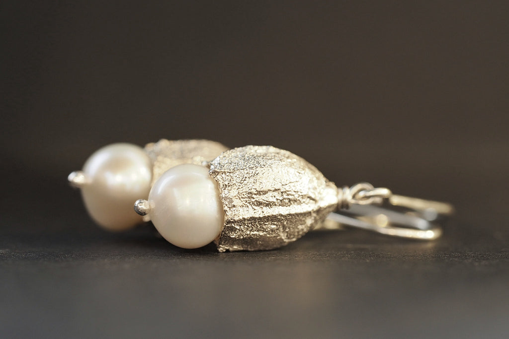 Medium Pearl Eucalyptus Earrings