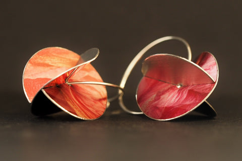 Dark Pink Whirlygig Earrings