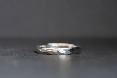 Silver Wide Geo Facet Ring