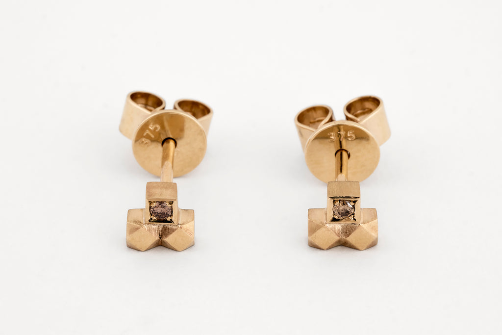 Mexicali Capitel Diamond Studs Yellow Gold