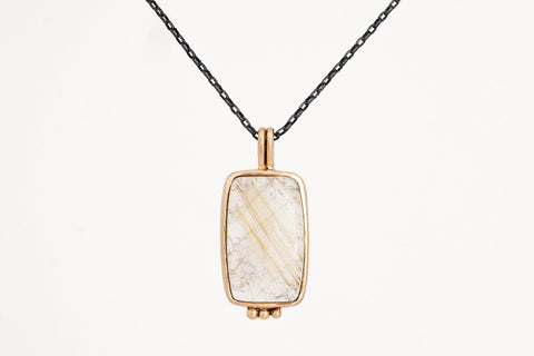 Rutilated Quarts Yellow Gold Pendant
