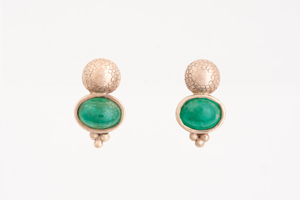 Yellow Gold Emerald Studs