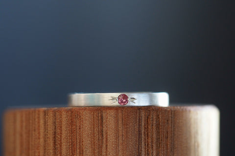 Tiny Little Love Pink Garnet Ring