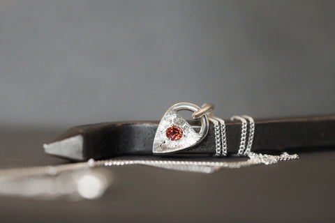 Tiny Litte Love Red Garnet Necklace