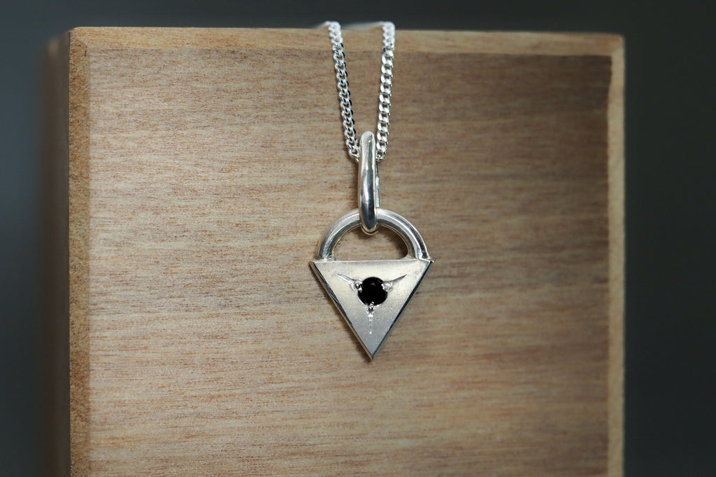 Tiny Little Love black Spinel Necklace