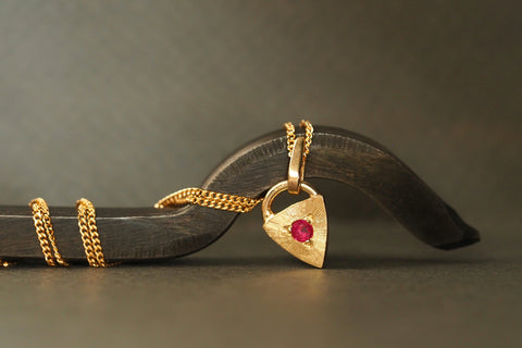 Gold Tiny Little Love Ruby Necklace