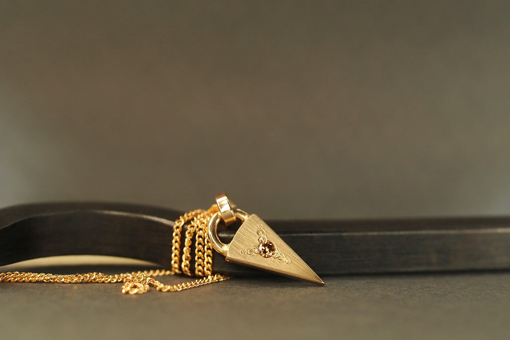 Gold Tiny Little Love Cognac Diamond Necklace