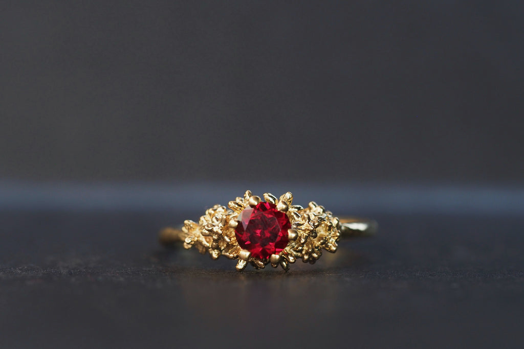 Red Garnet Solitaire Spur Ring