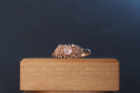 Pink Garnet Solitaire Spur Ring