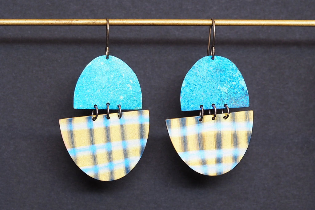 Blue and Yellow Crosshatch Earrings