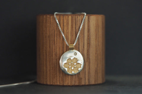 Yellow Gold Diamond Snowflake Necklace