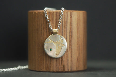 Yellow Gold Emerald Bird Necklace
