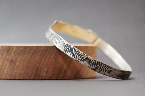 Sterling Silver Leaves Bangle With Oxidised Detail