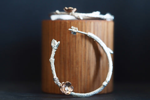 Twig and Blossom Hoops
