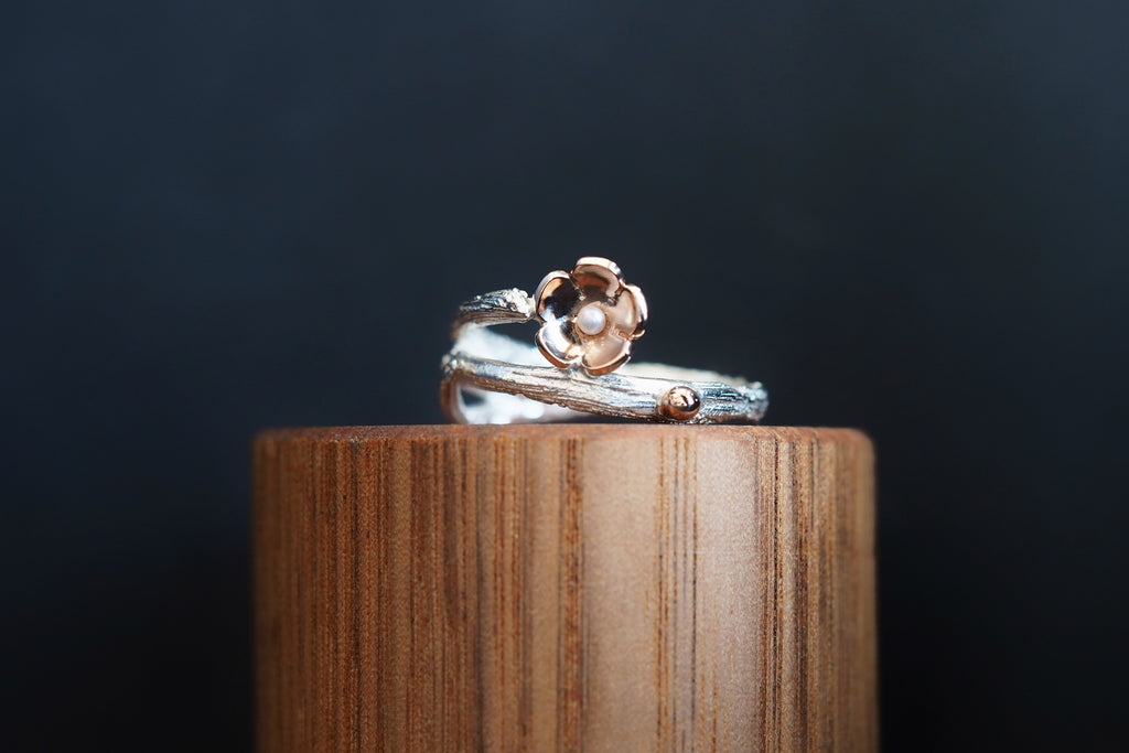 Twig and Blossom Double Branch Ring