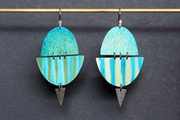 Green and Blue Stripe Titanium Earrings